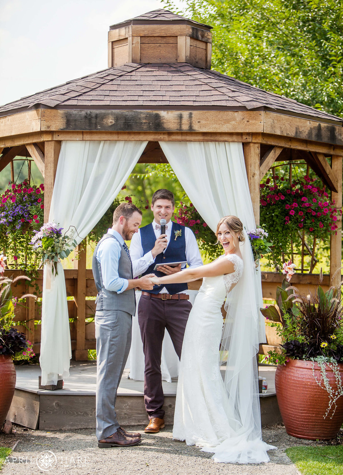 Denver Wedding Photographer  Happy Ceremony Photo at Denver Botanic Gardens Chatfield Farms
