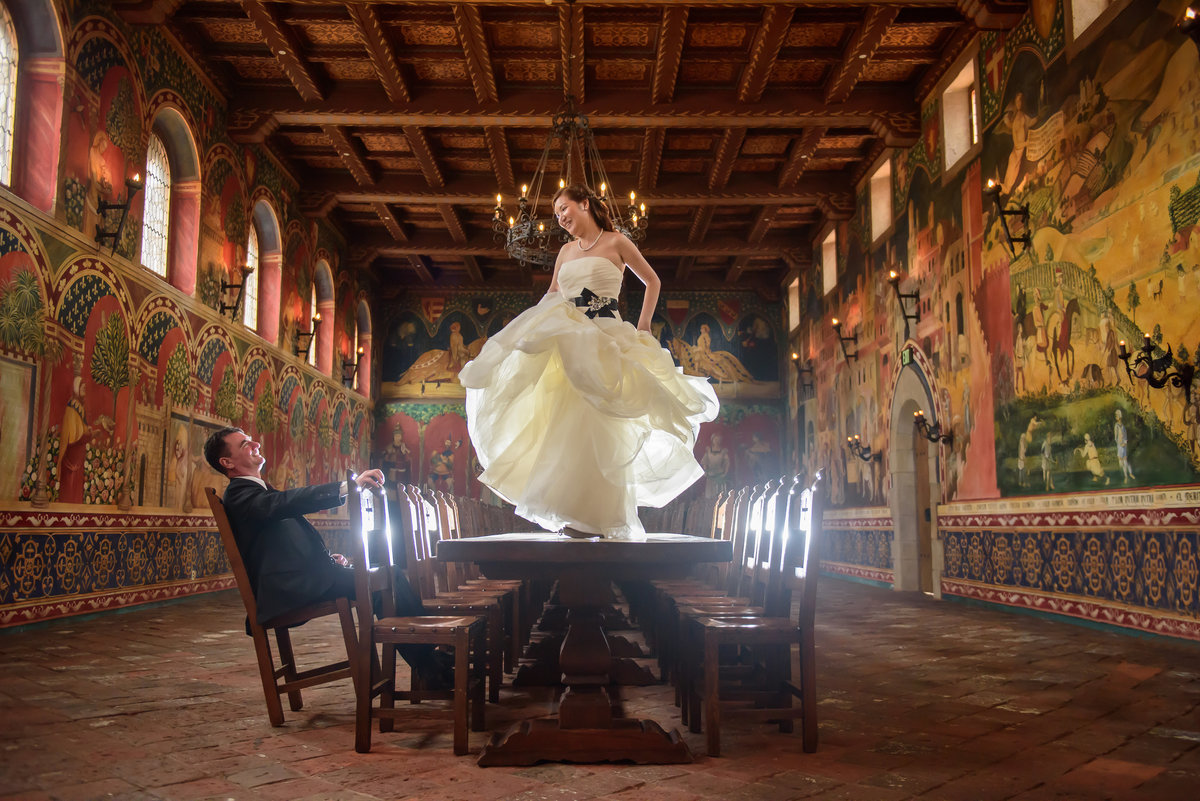 Awesome shot of a bride at Castello di Amorosa