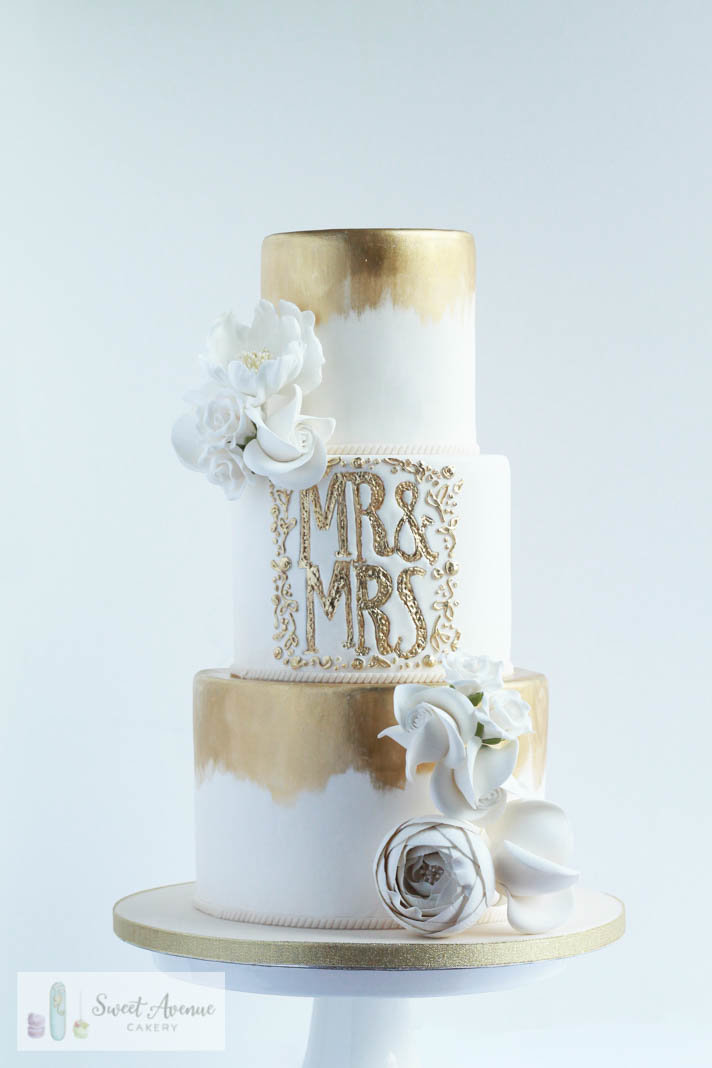 elegant brushed gold mr&mrs wedding cake with flowers, Hamilton ON wedding cakes