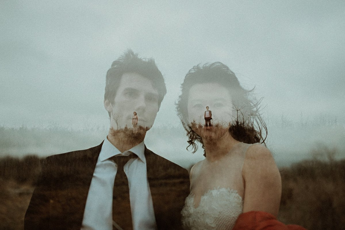 Double exposure bride and groom