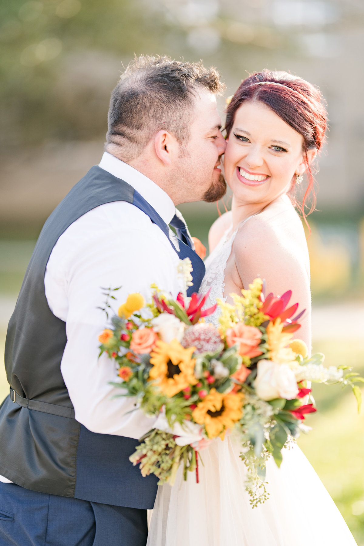 Couple Portraits Wedding Brewery Cincinnati Ohio Colorful Flowers-74