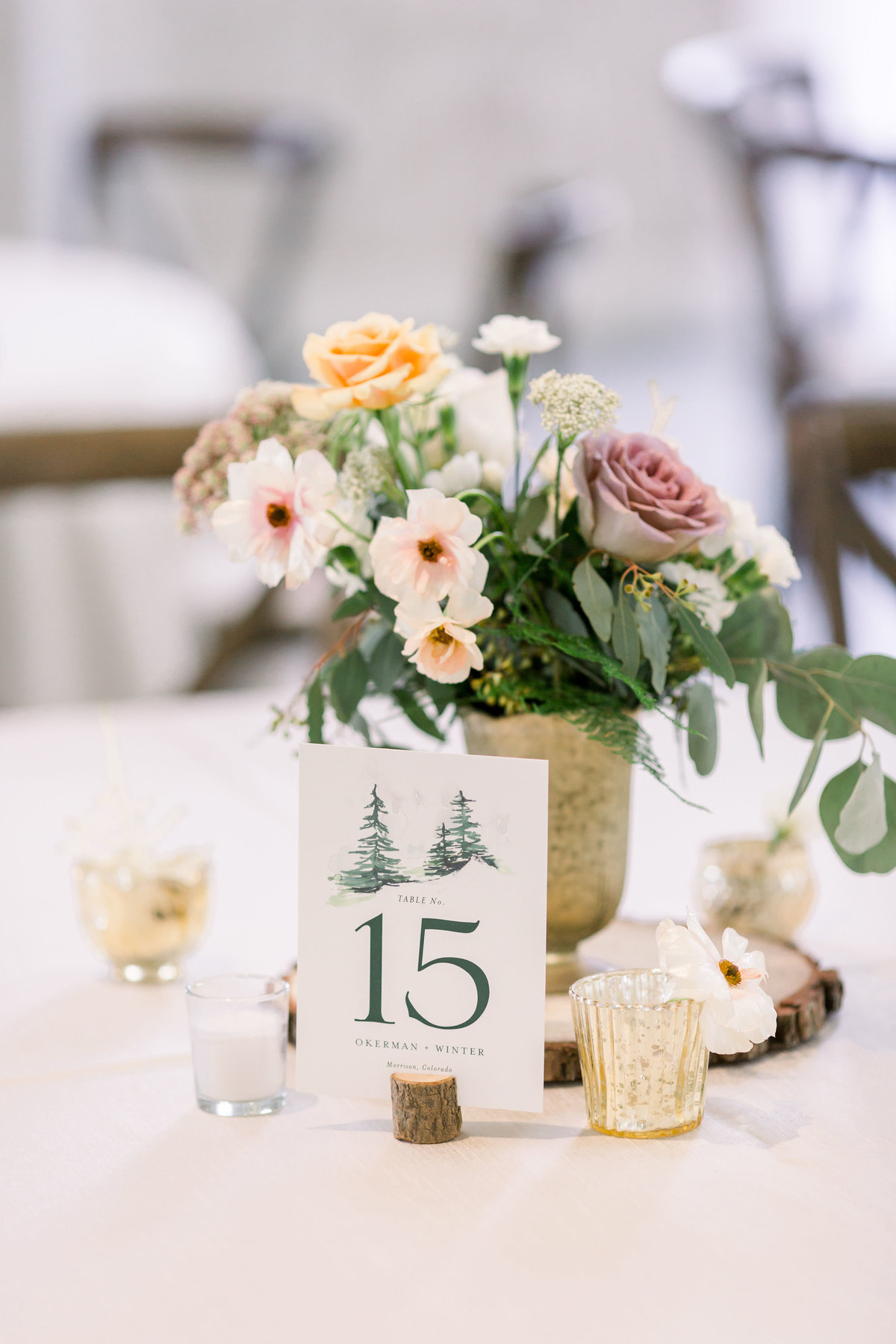 Wedding tablescape and table number detail