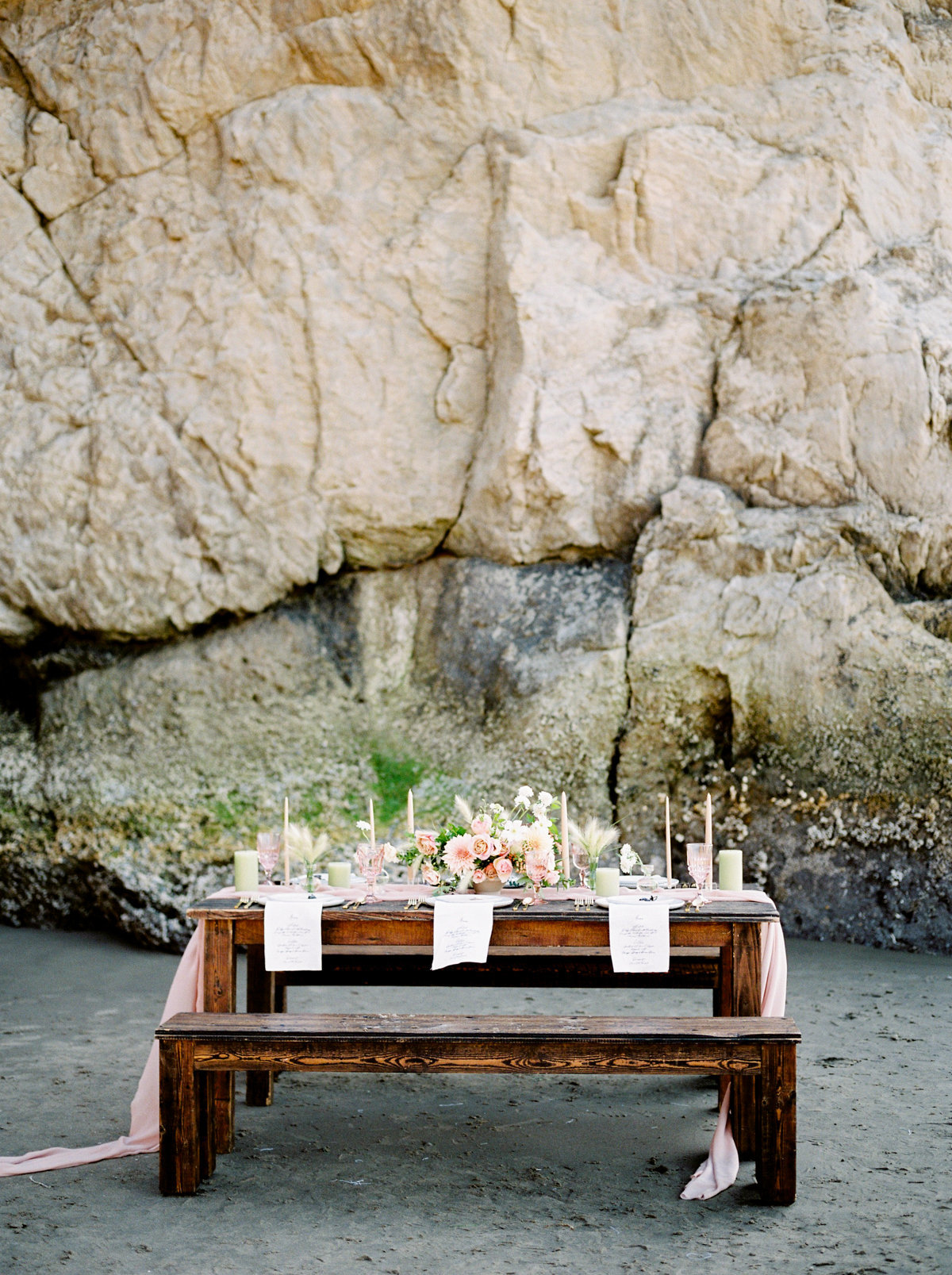 cannon beach table scape pink