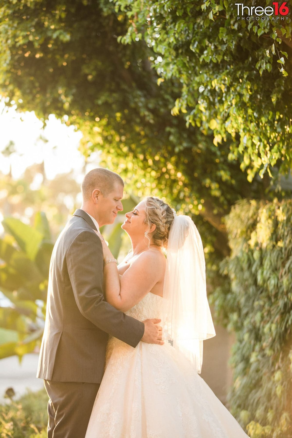 Bride and Groom share intimate moment under a tree