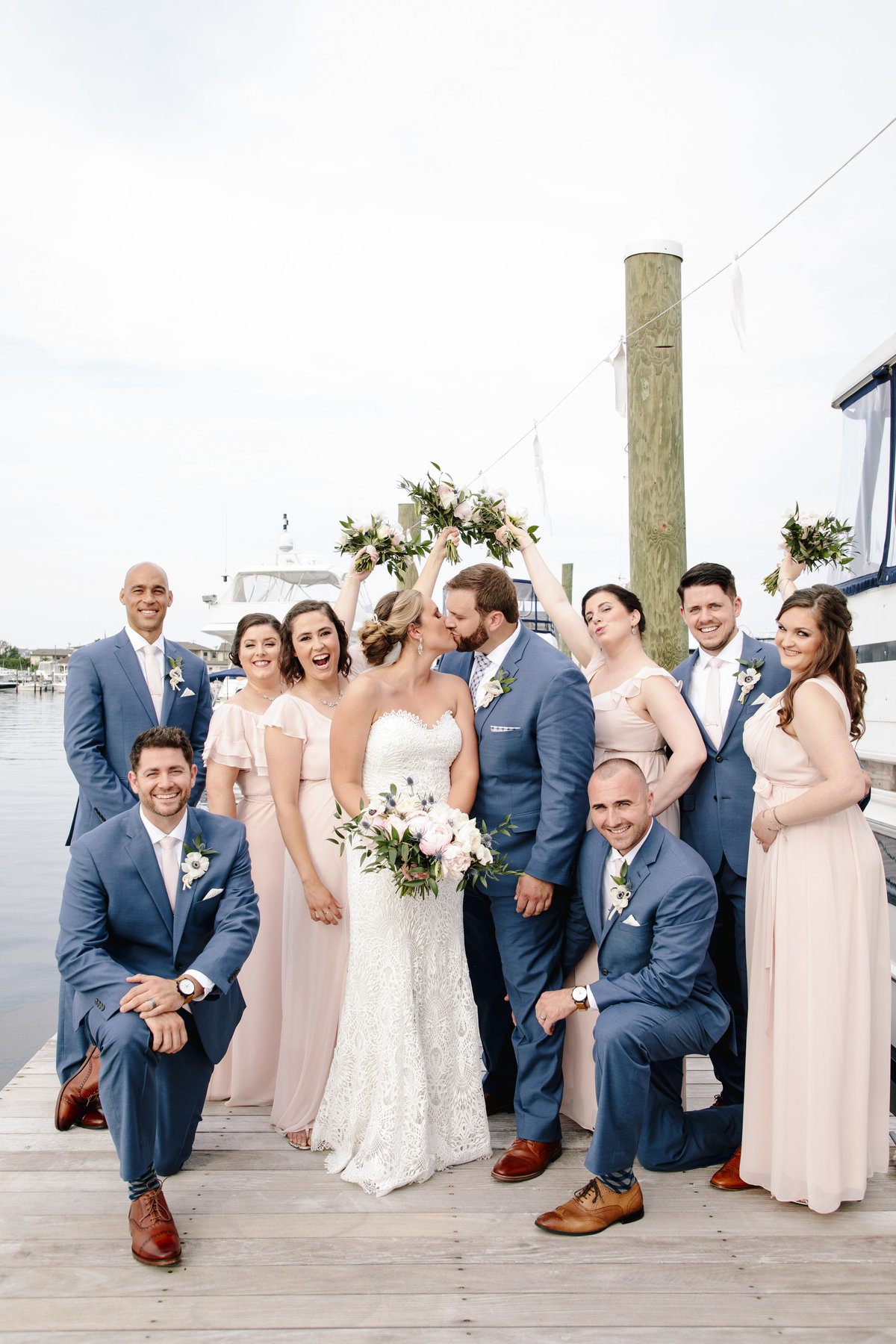 bridal party on dock at channel club wedidng