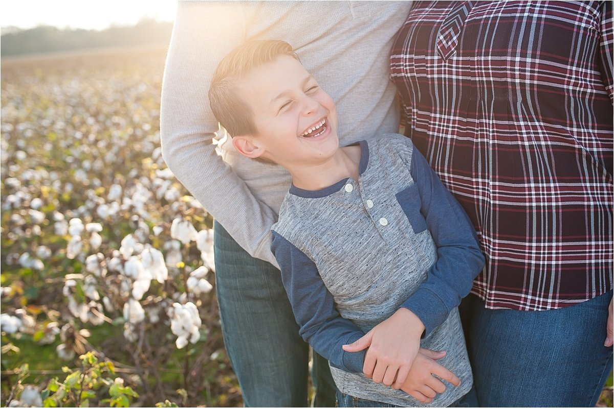 Cotton field family photography in Cartersville, GA