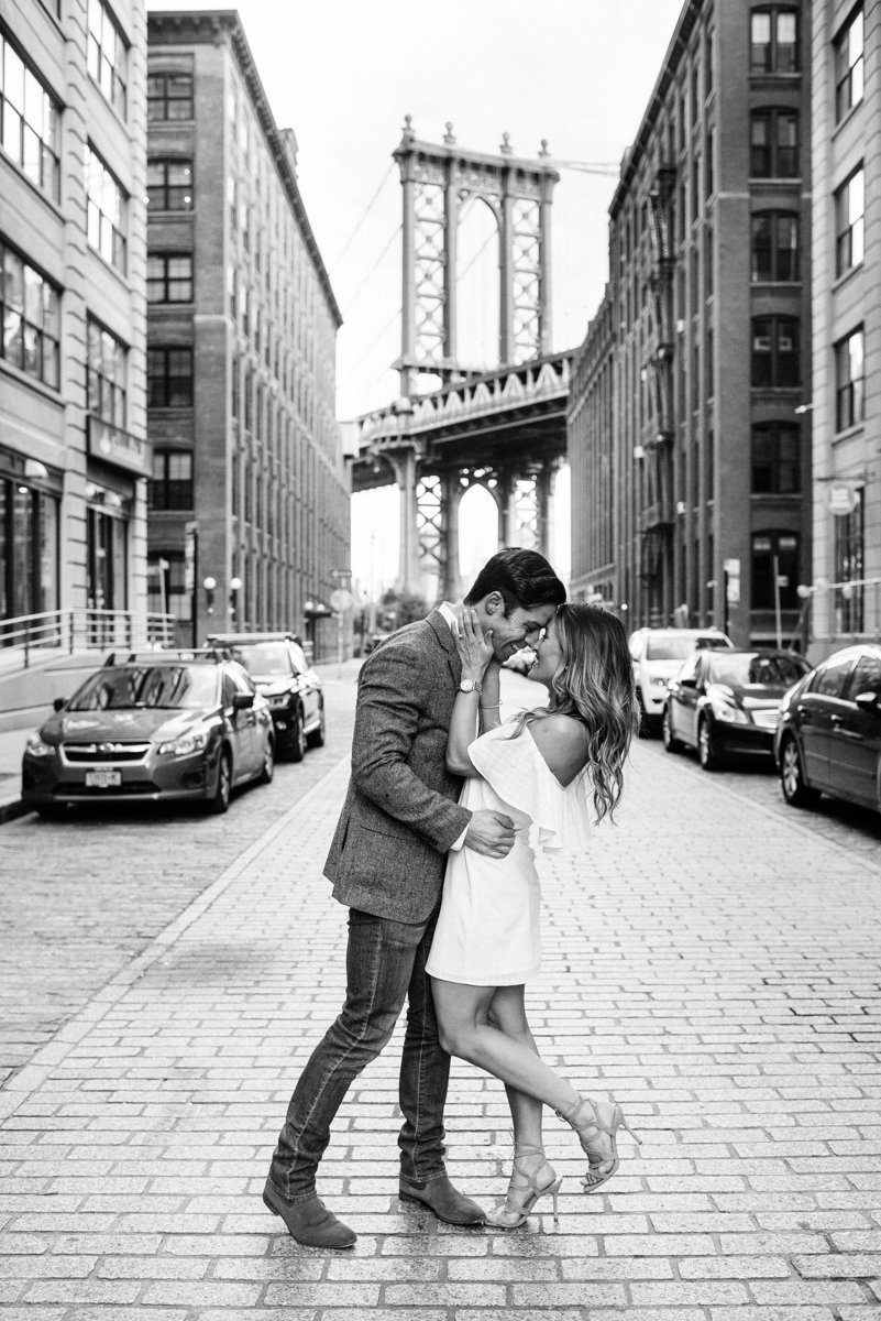 sunrise engagement black and white candid dumbo brooklyn nyc NY new york city