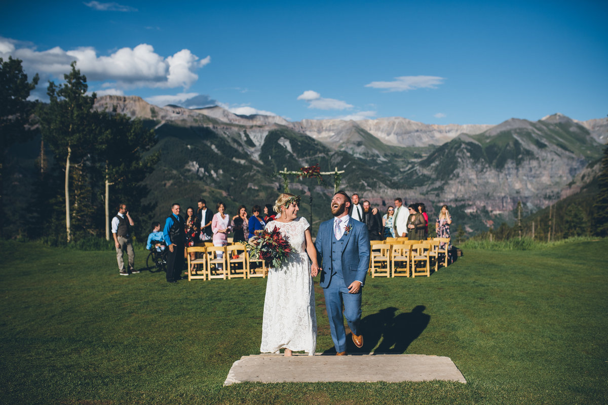 Bride and groom at their wedding at San Sophia Overlook in Telluride, Colorado