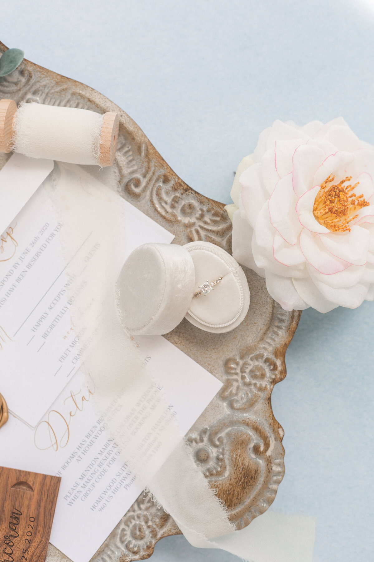 wedding invitation flatlay photo