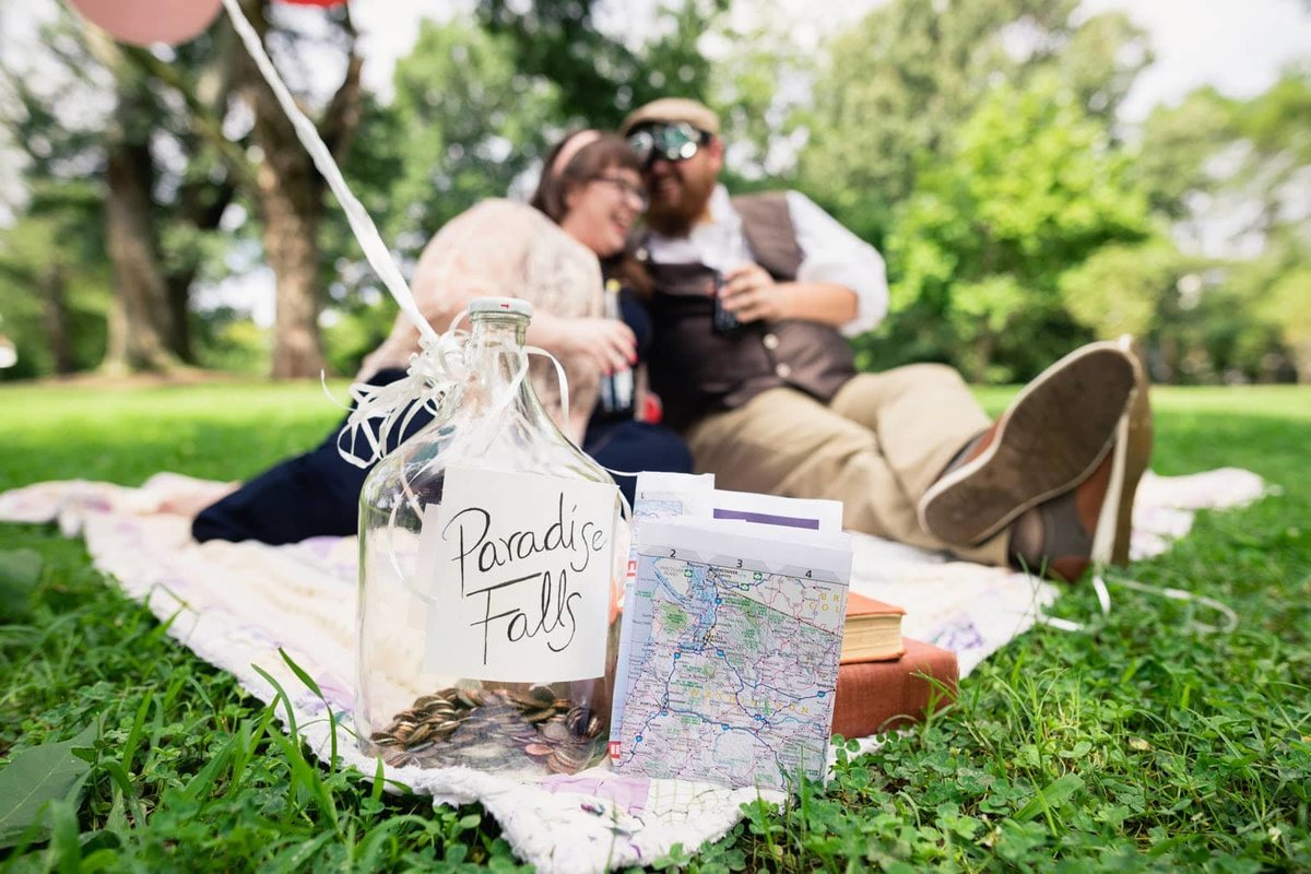disney themed engagement session at Atlanta Piedmont Park by Mike Glatzer
