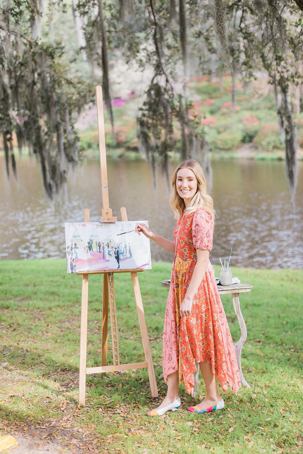 Paint by Chloe live wedding painter at Middleton Place, South Carolina