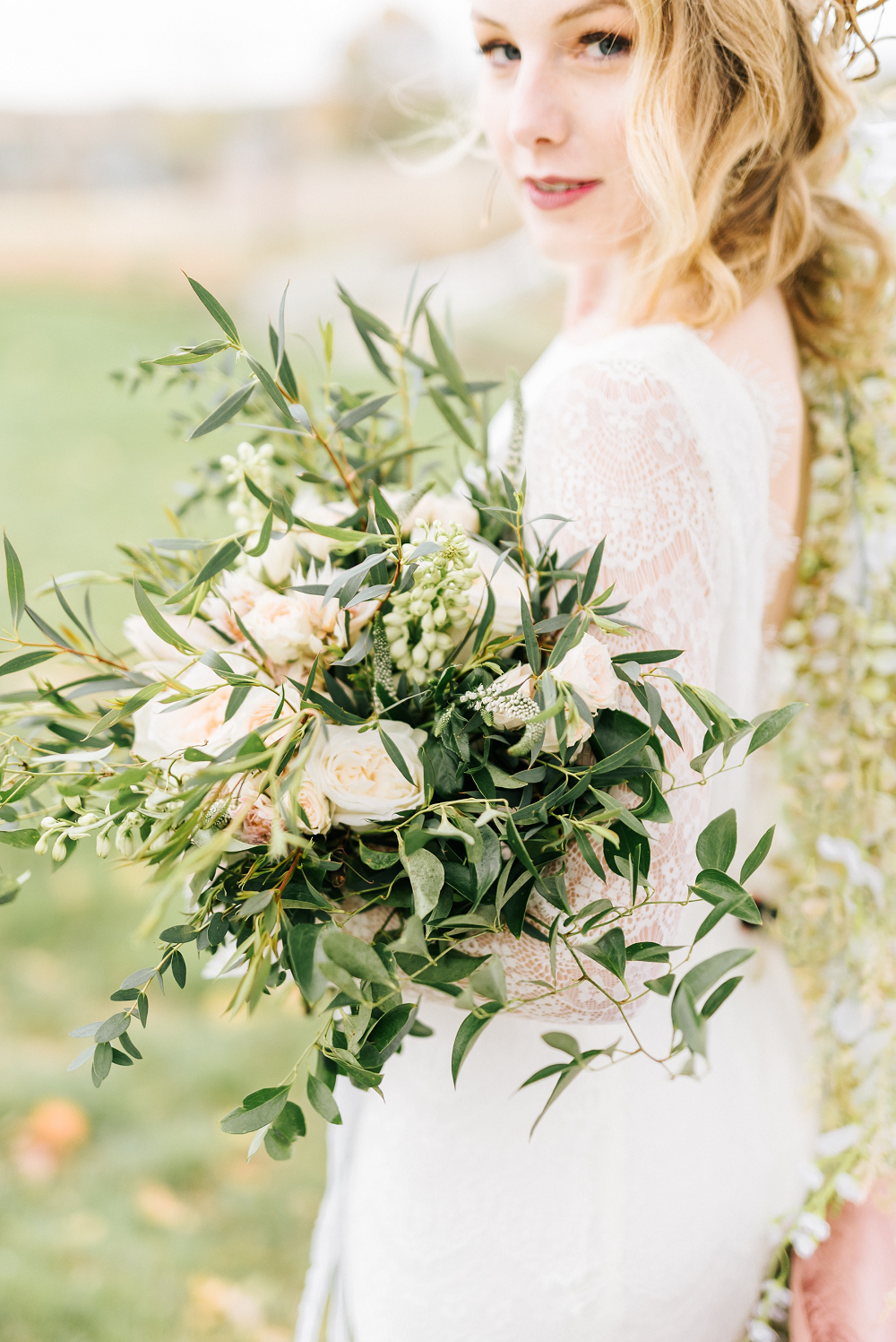 Lush Greenery Wedding Inspired Styled Shoot at Cornman Farms Bridal Bouquet
