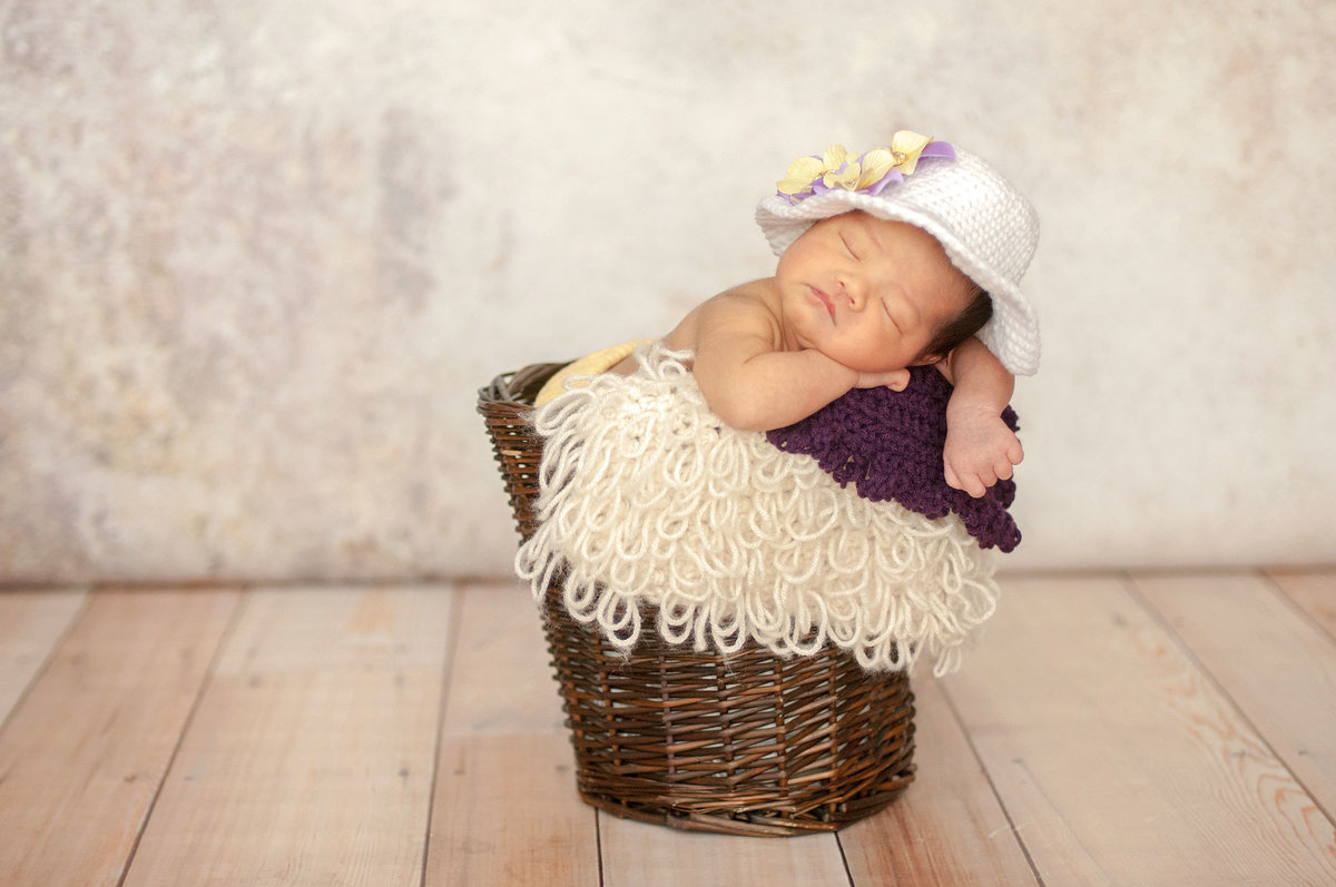 Baby posing in basket