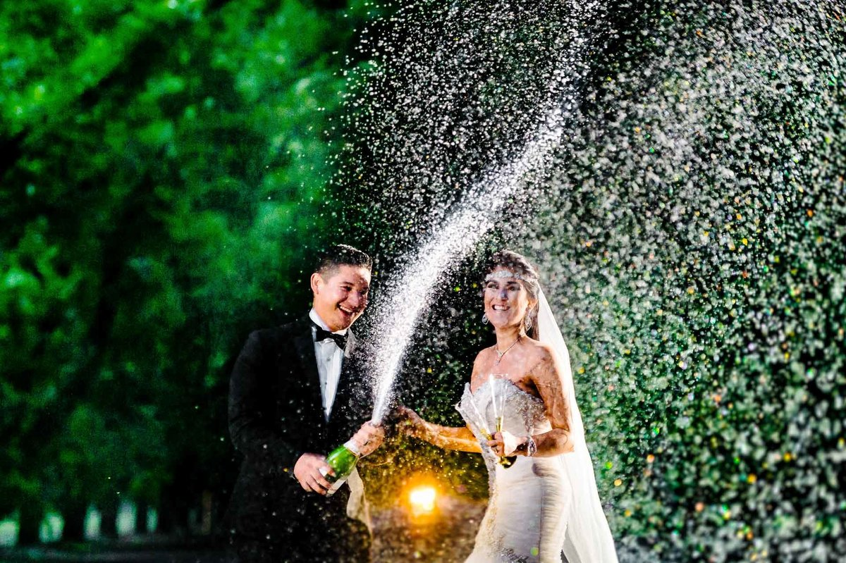 bride and groom drinking champagne in el paso by stephane lemaire photography