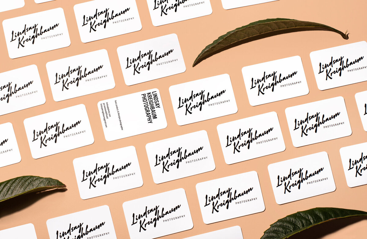 branding business cards and leaves photography