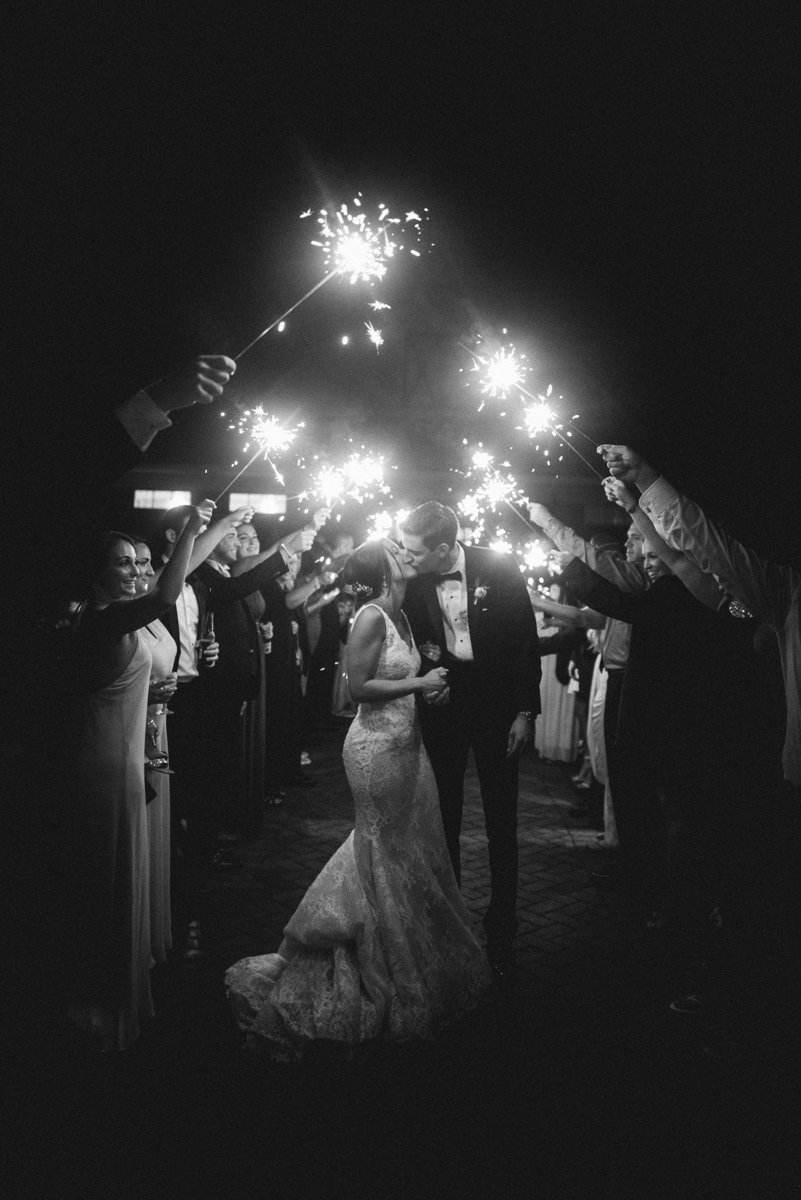 sparkler grand exit night shot ashford estate wedding photography black and white