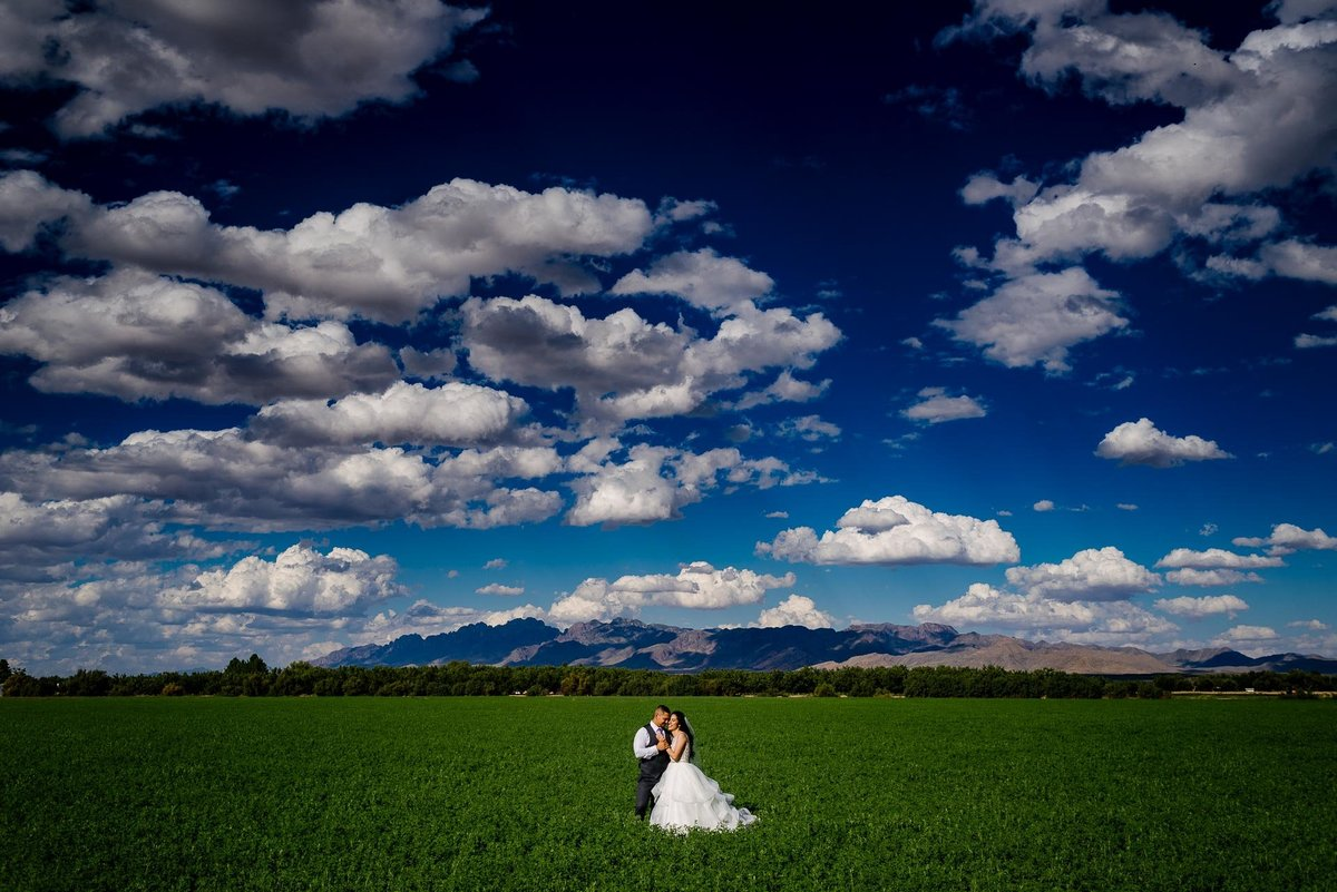 bride and groom in a field near grace gardens in el paso by stephane lemaire photography