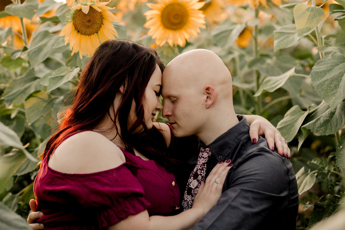 Engagement session in the sunflower field0027
