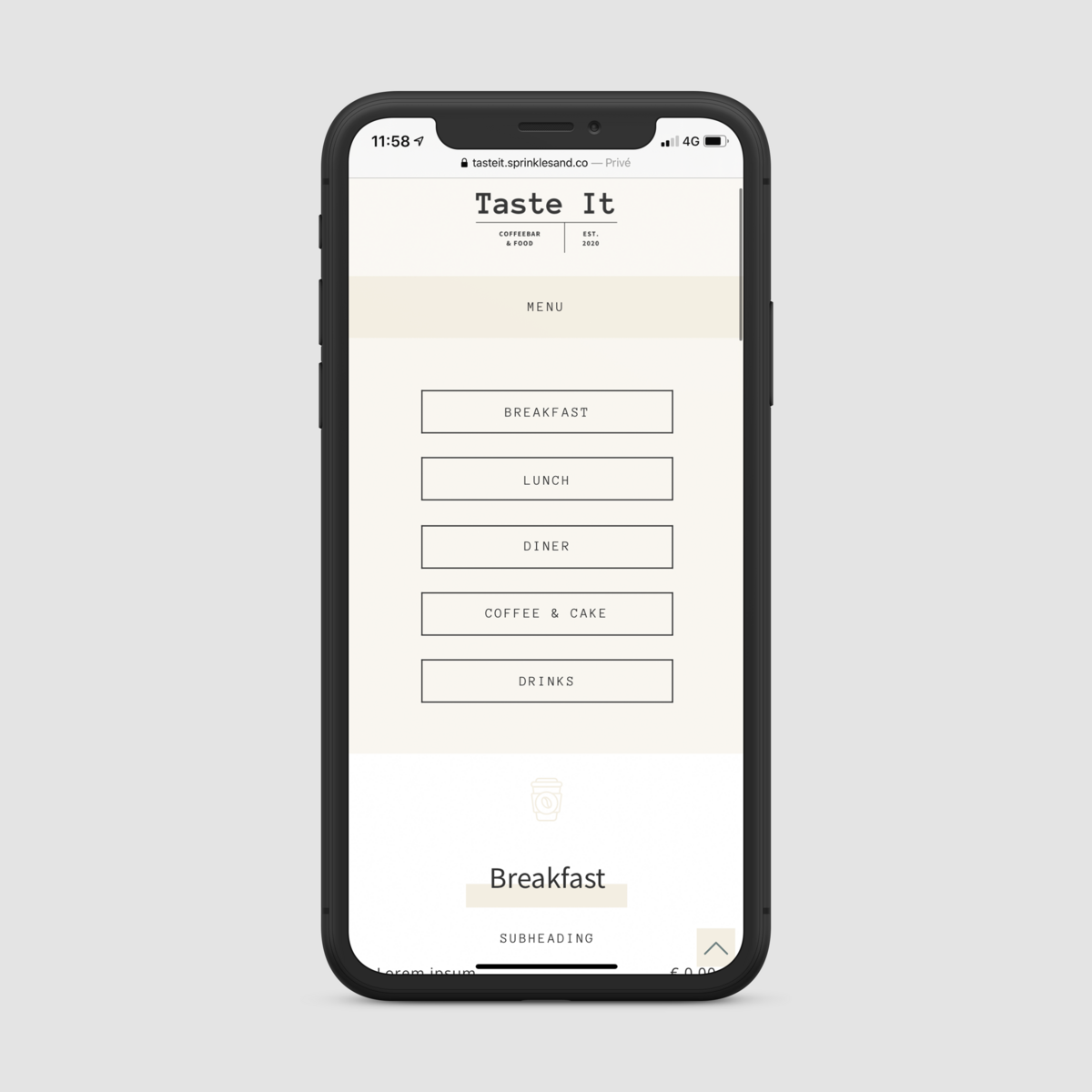 iPhone X mockup menu