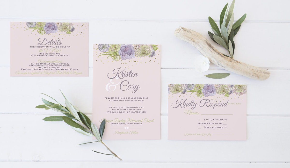 Pink and Green Succulent Wedding Invitations