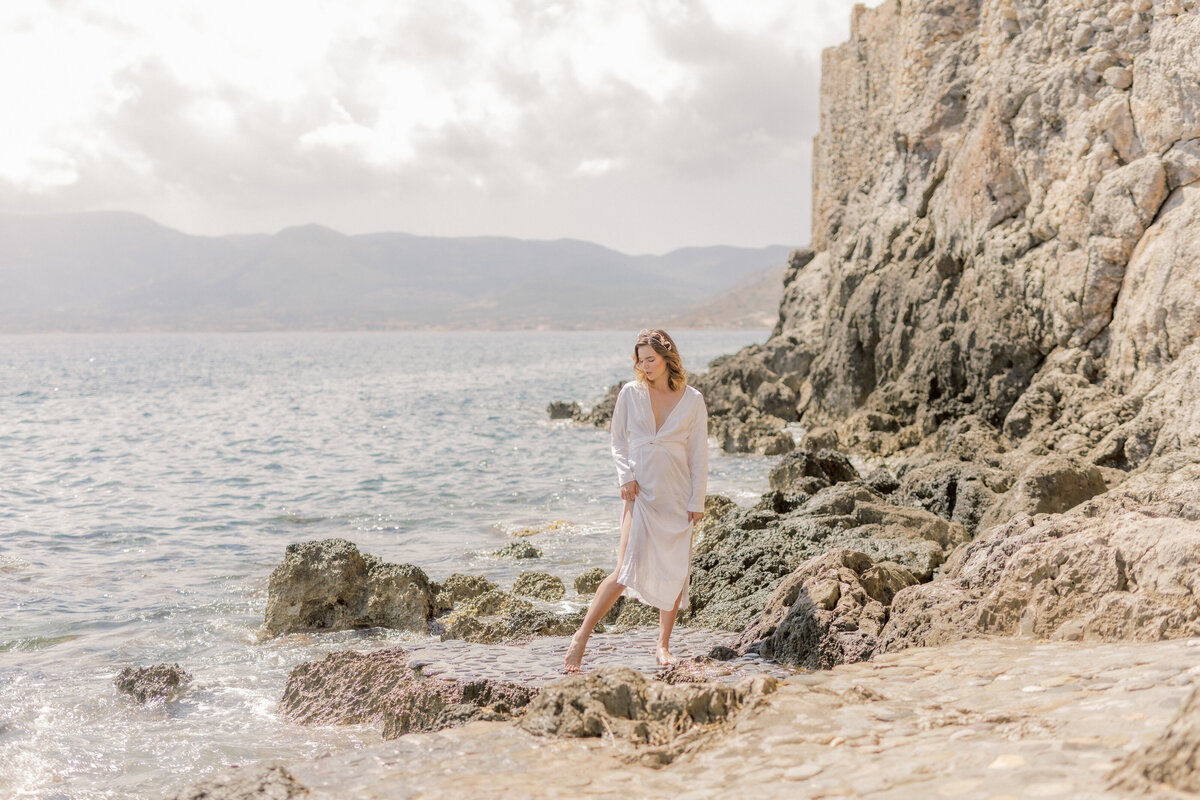 Beach Bridal Portrait Editorial Photoshoot in Greece