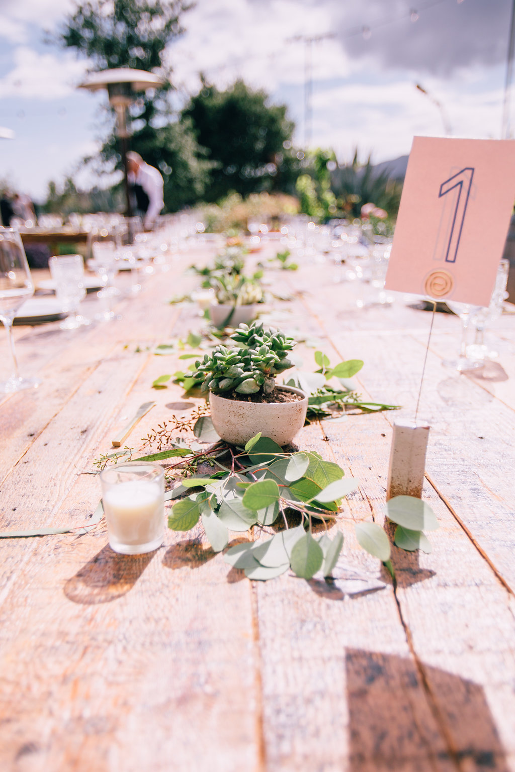 desert wedding reception table settings with eucalyptus garland and succulent centerpieces in Ojai