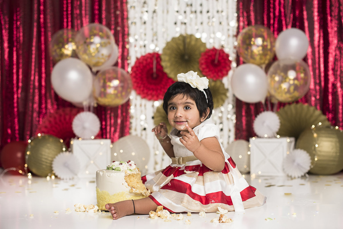 columbus ohio photographer cake smash first birthday red gold white
