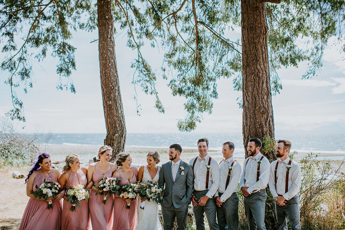 Couple at their Bonniebrook Beach Ceremony on the Sunshine Coast B.C