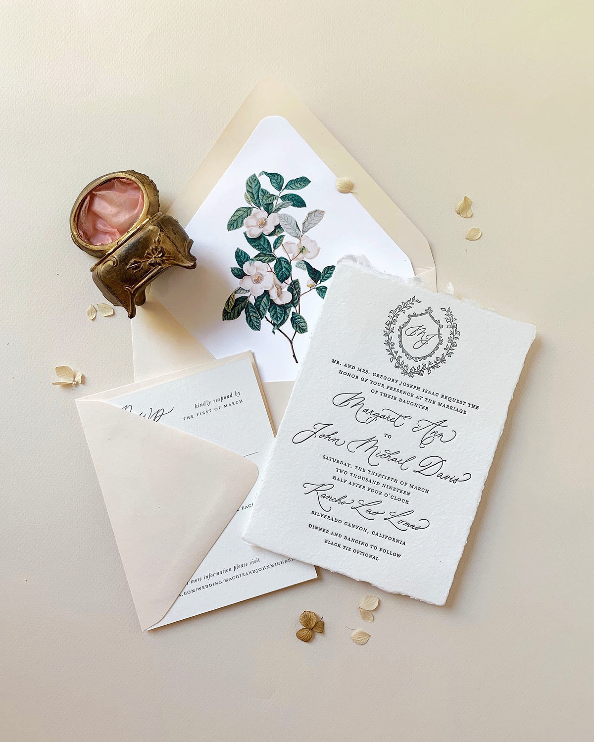 romantic and timeless invitations by Dominique Alba