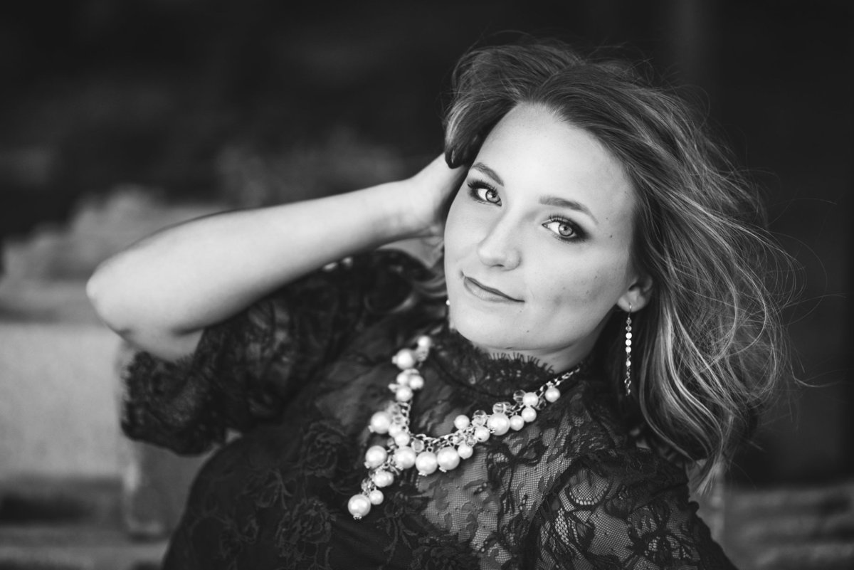 Senior Session in Pack in Black and White