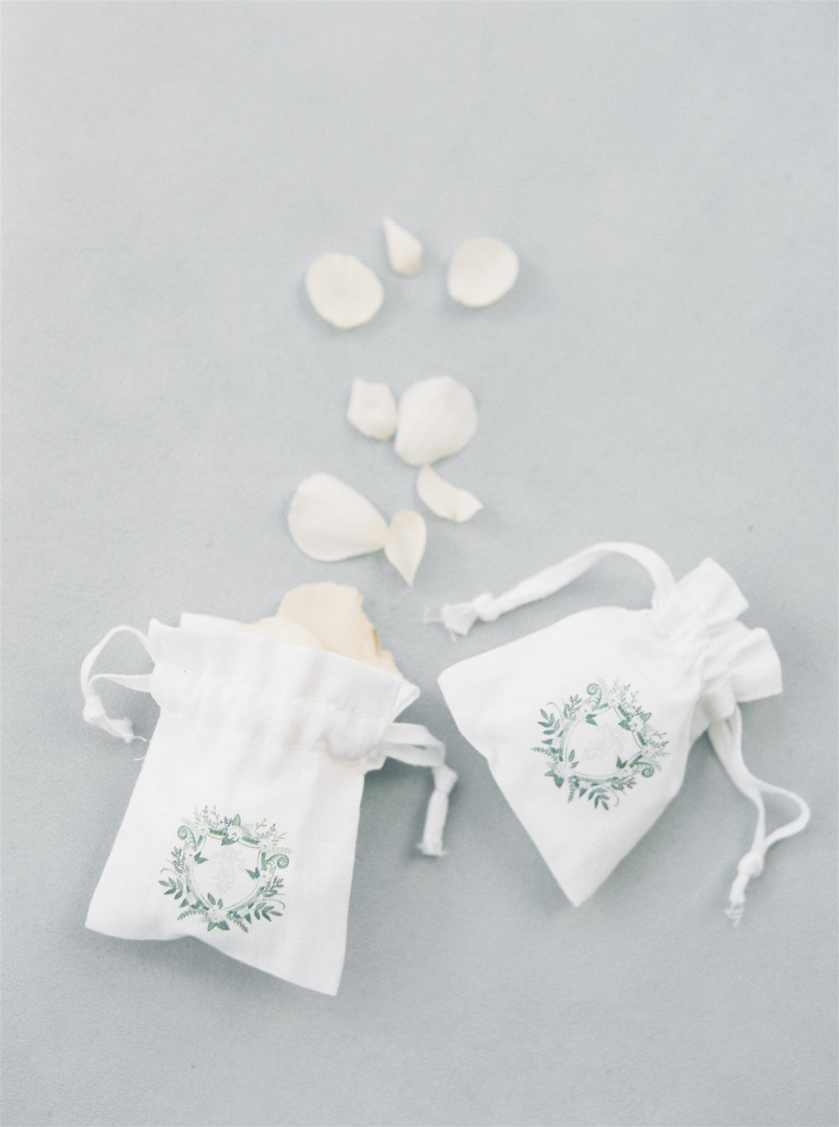 Monogrammed Rose Petal bags for ceremony for a Cape Cod Wedding by luxury Cape Cod wedding planner and designer Always Yours Events