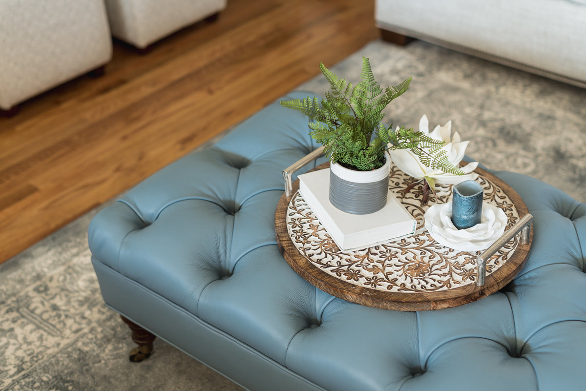 Blue Leather Ottomans for Lake Norman Home