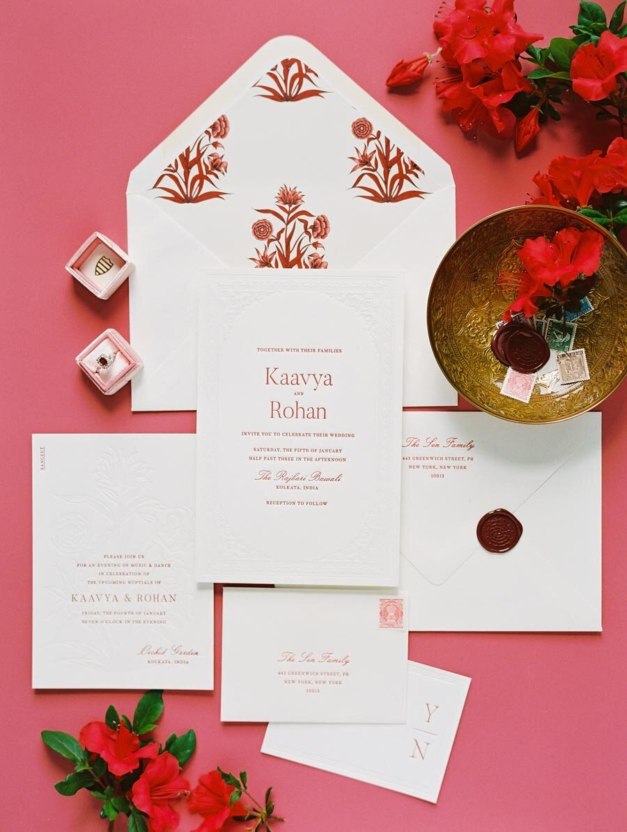 Red and White Wedding Invitation Niru & Baku Bonnie Sen Photography