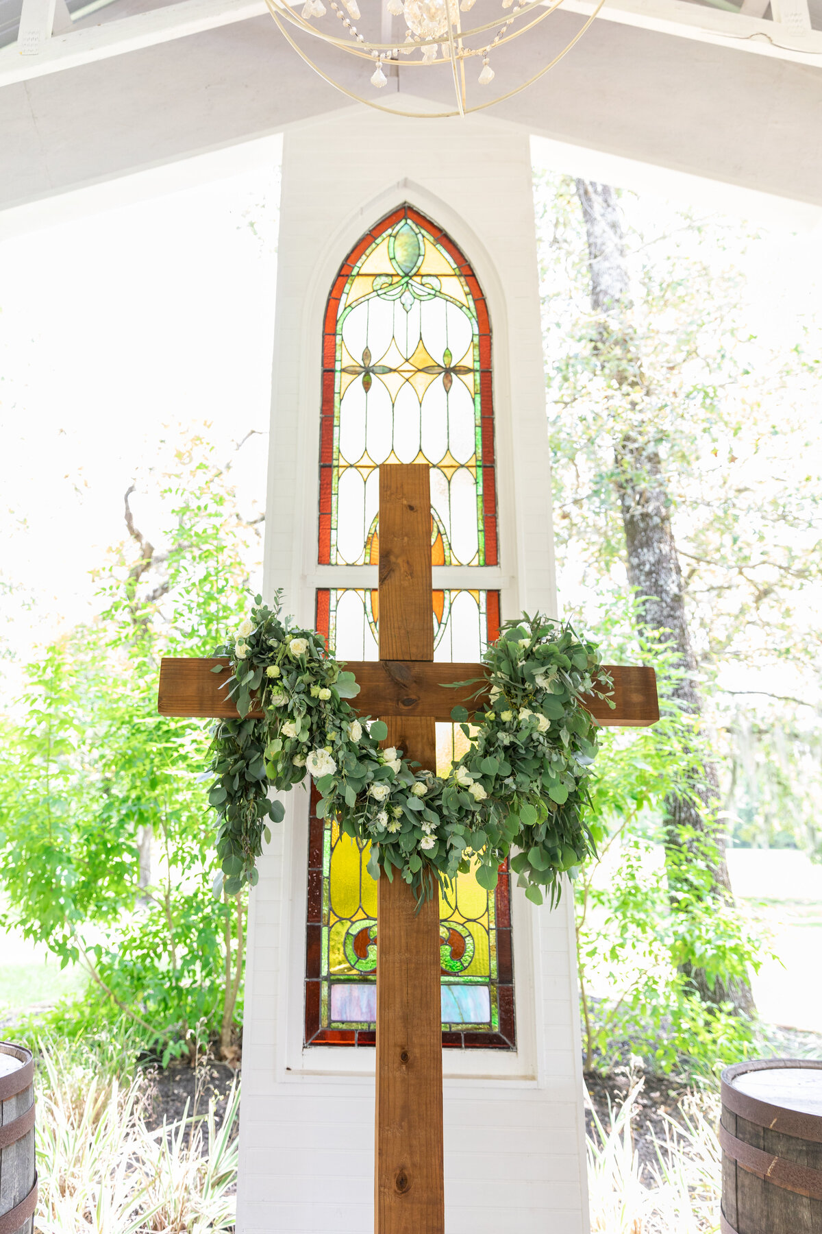 Decorated Cross in an Open Air White Chapel