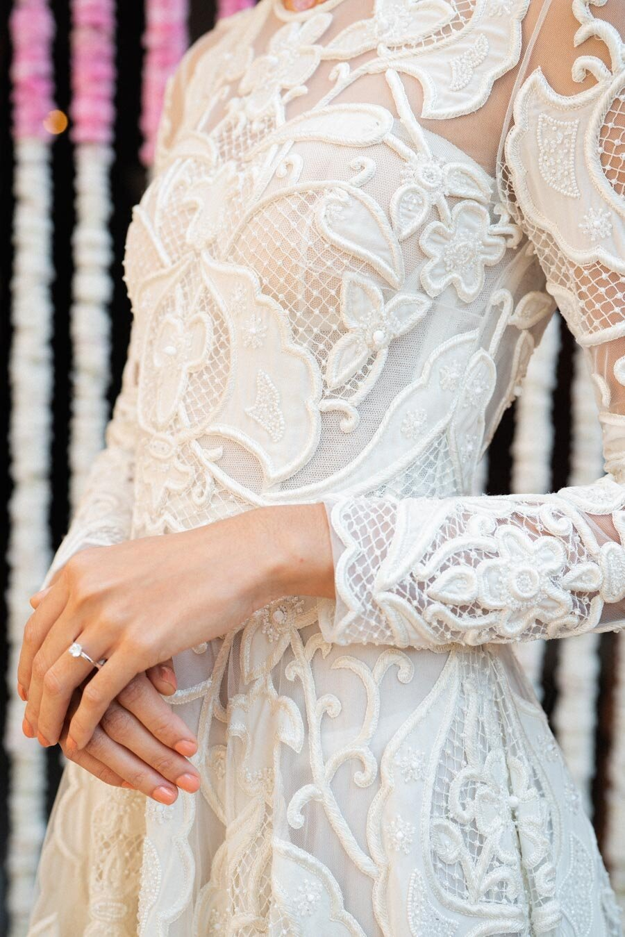 Naeem Khan Classic Wedding Dress Modern White Lace Bonnie Sen Photography