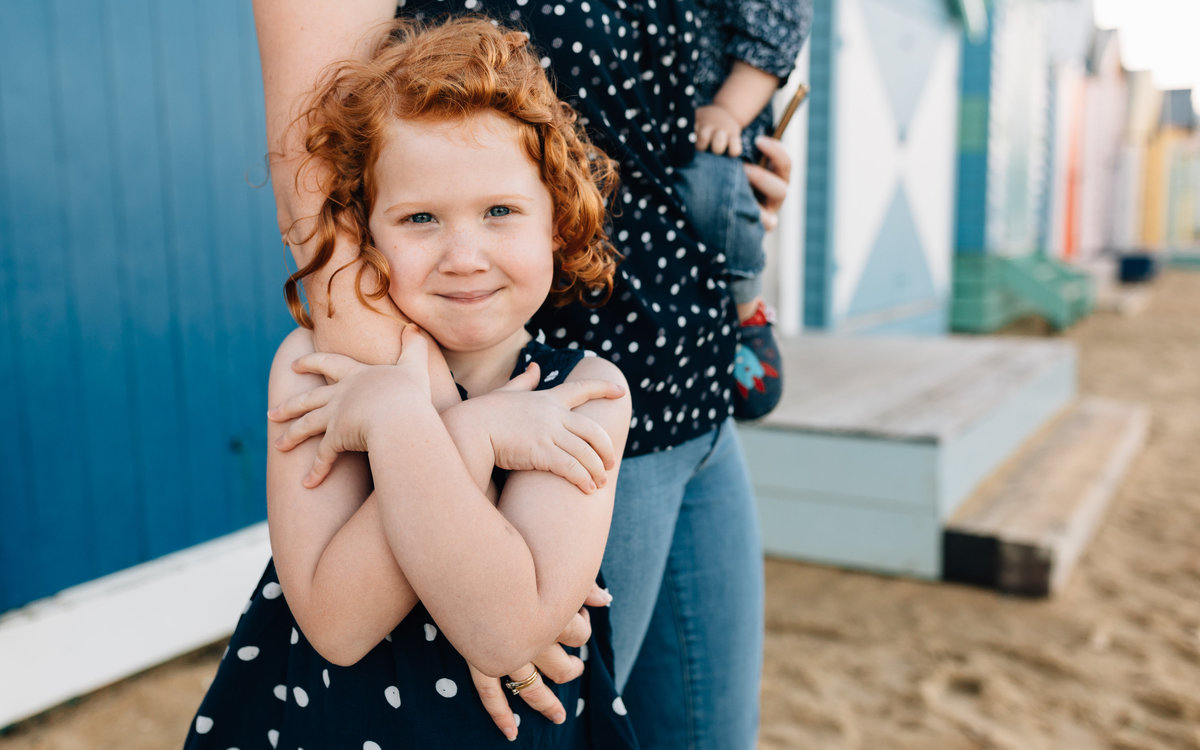 red haired girl at brighton beach Melbourne family photography And So I Don't Forget Photography