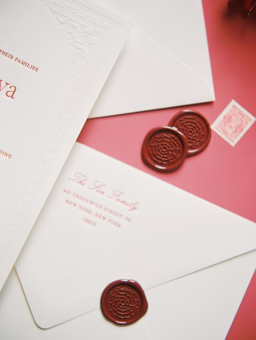 Red Wax Seal Indian Wedding Invitation Niru & Baku Bonnie Sen Photography