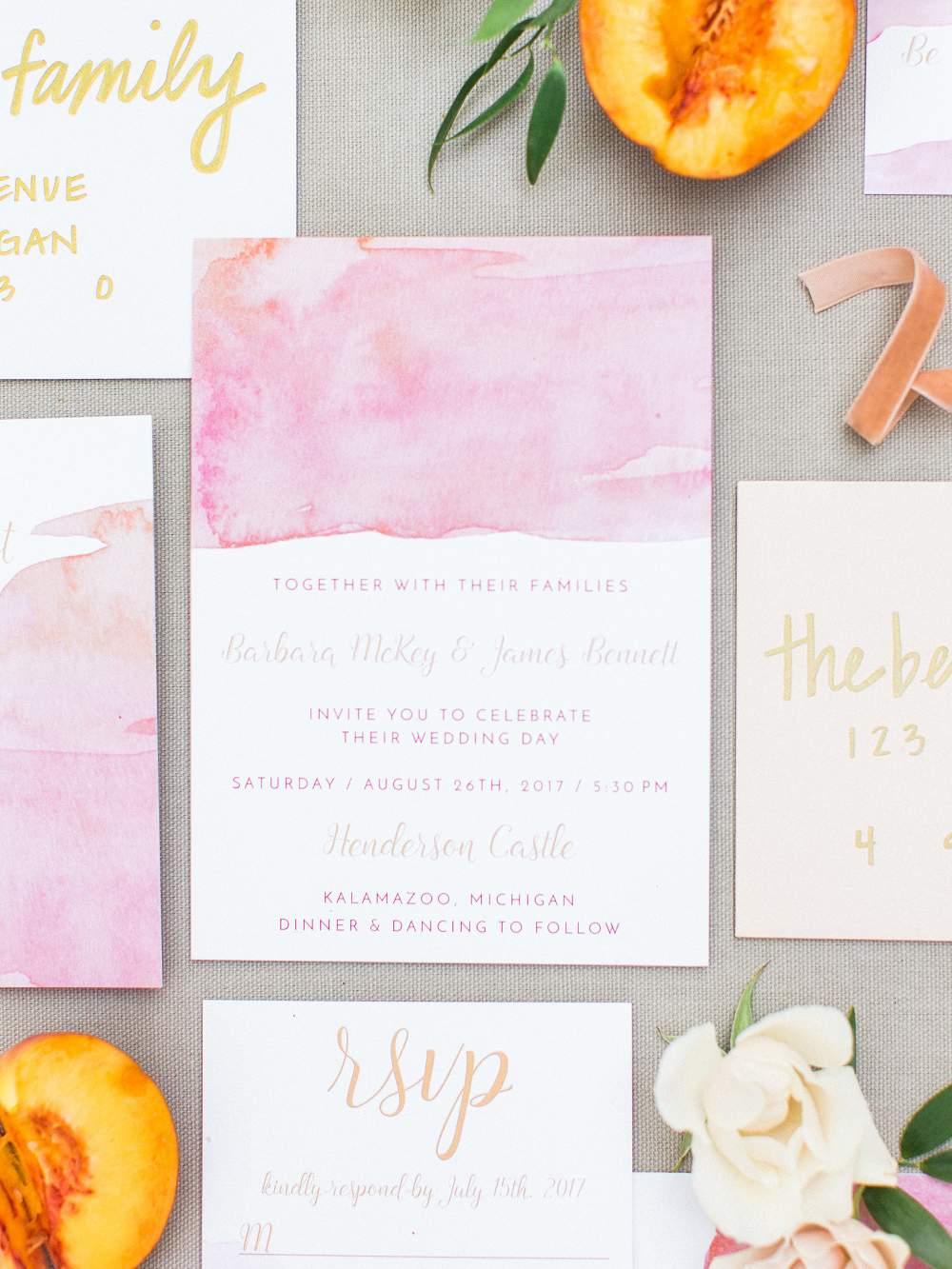 Whimsical Summer Wedding Styled Shoot at Henderson Castle Featured in WeddingDay Magazine Pink Watercolor