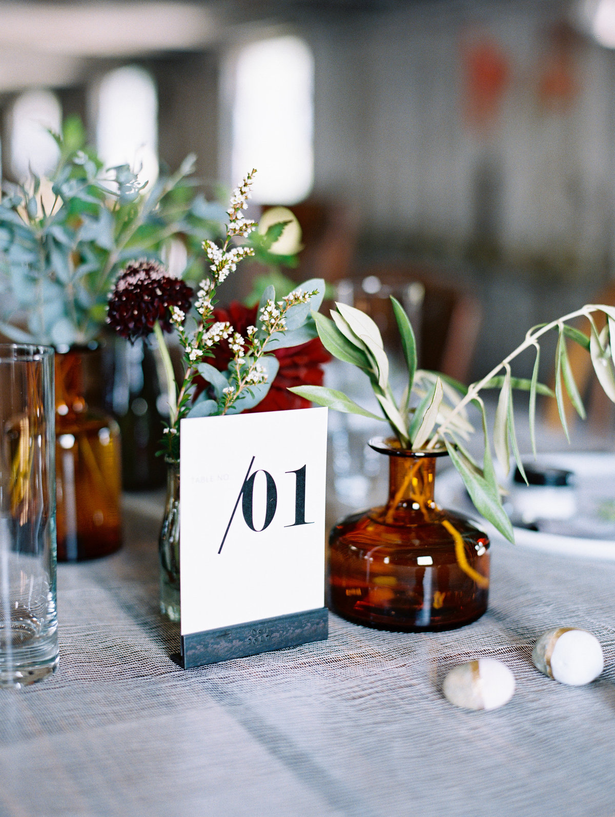 Industrial table number modern wedding