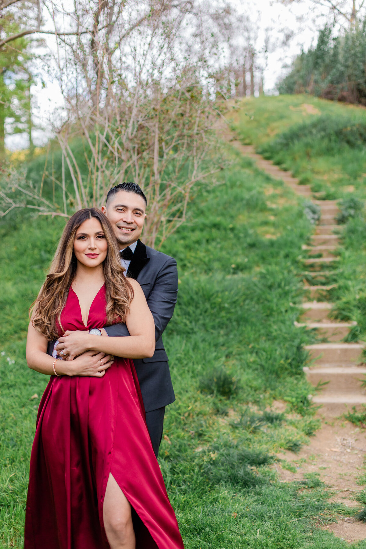 UC Riverside Botanical Gardens, Engagement Photography, Riverside Phototgrapher, Garden Engagement, Couple Photography, Red Dress-2