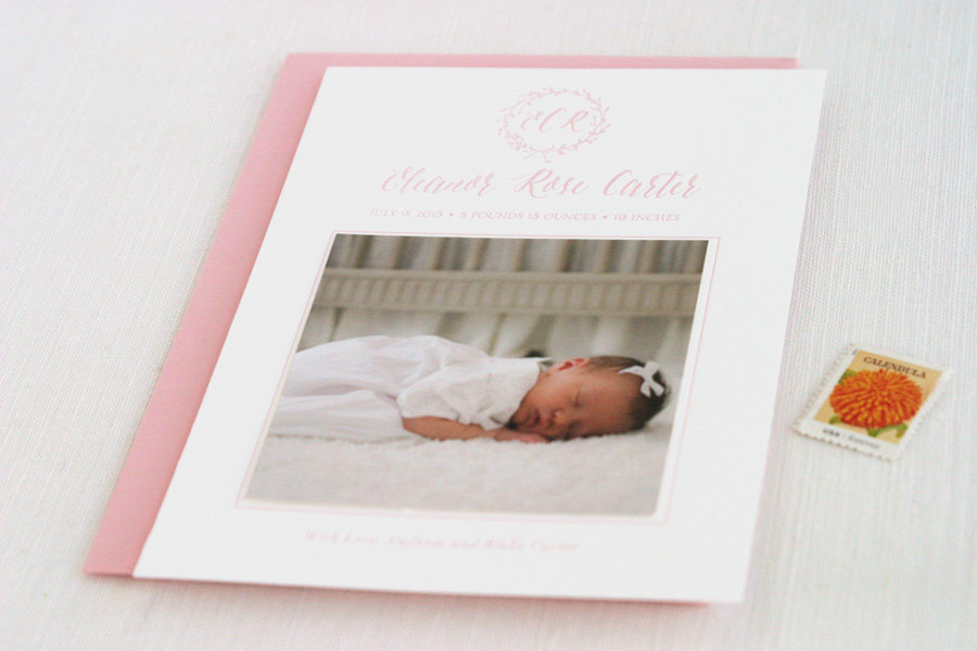 Baby-girl-birth-announcement-letterpress-pink