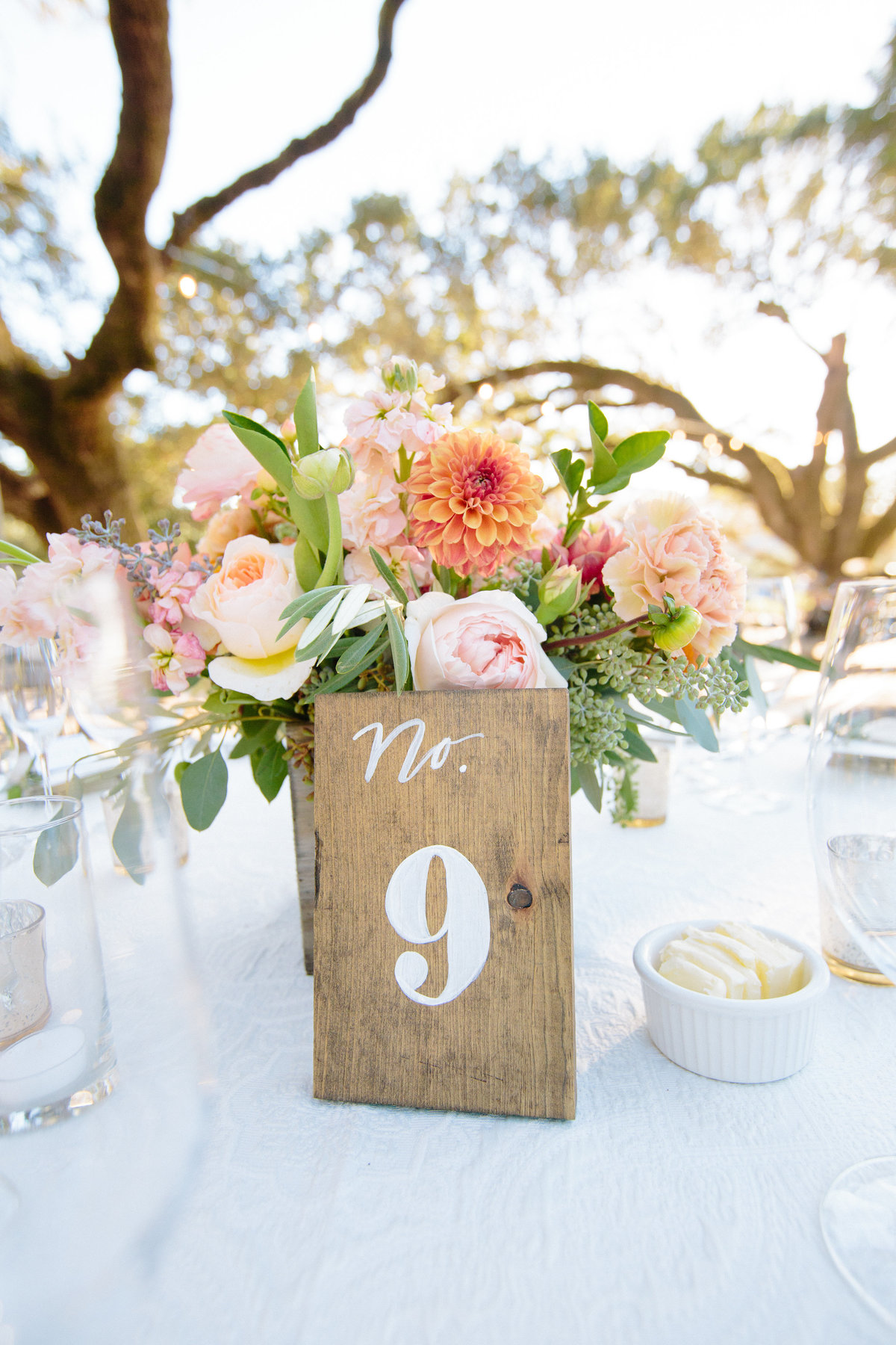 Hand painted table numbers at Beltane Ranch in Sonoma.