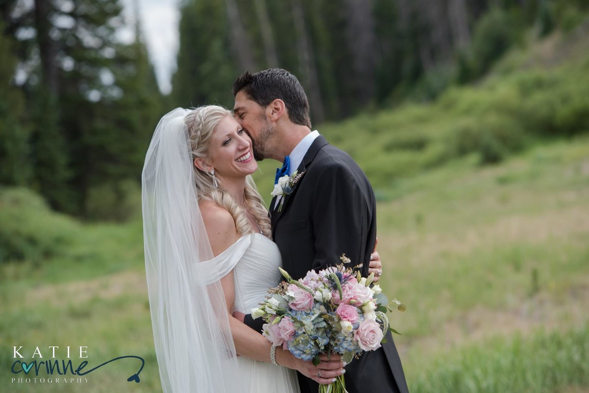 Bride and Groom at Summer Ski Resort Wedding