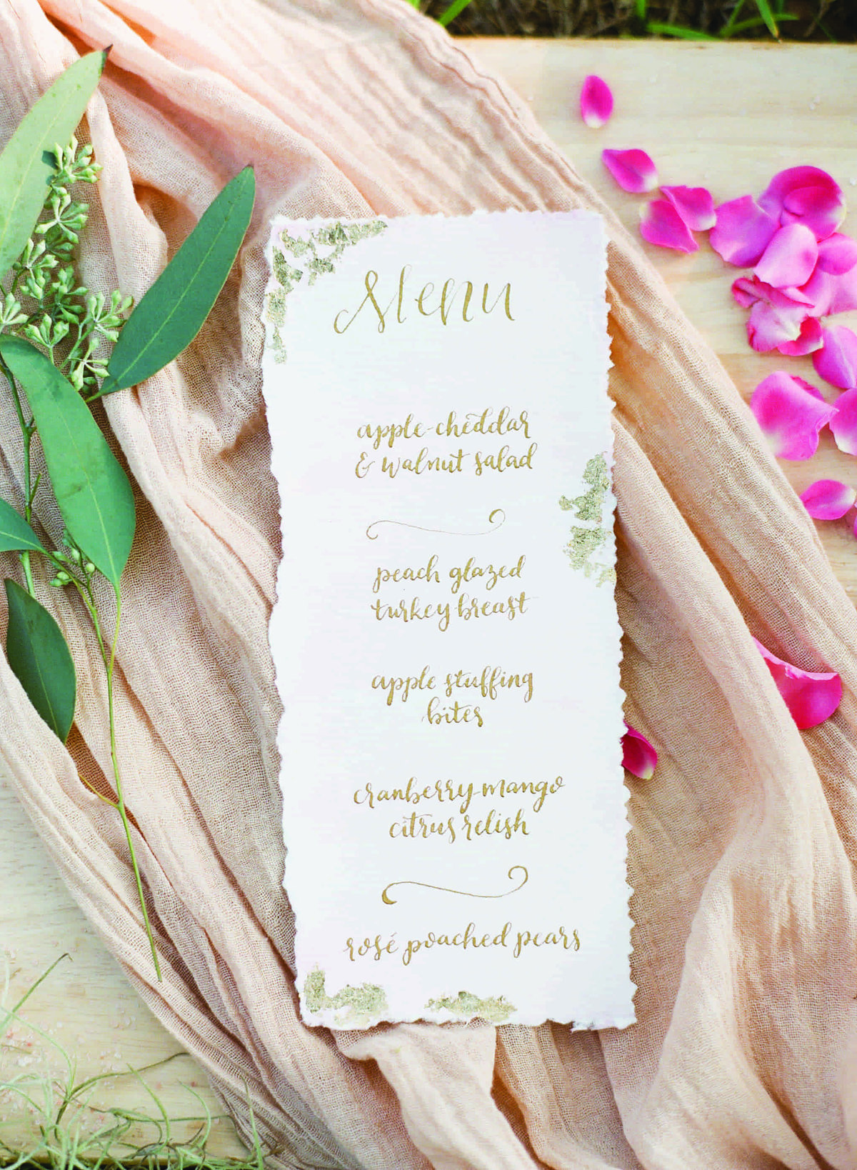 wedding menu calligraphy gold
