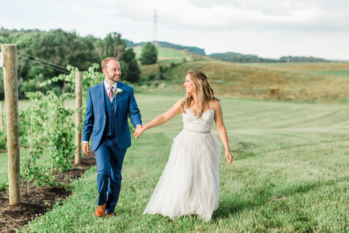 Bride and Groom Walking at Ohio Winery