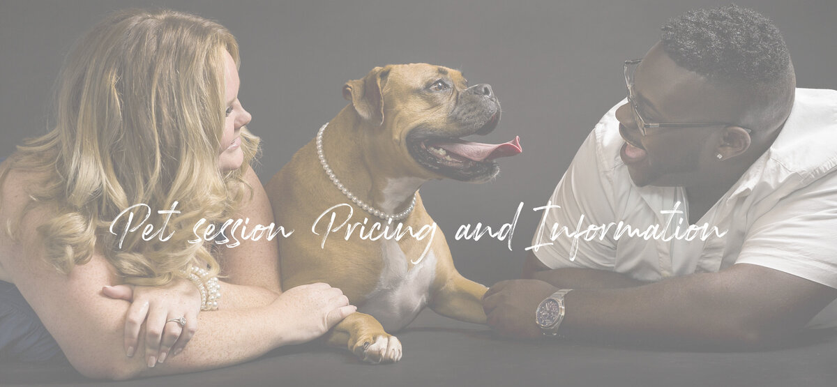 A couple laughing as they cuddle with their pet boxer for a professional portrait