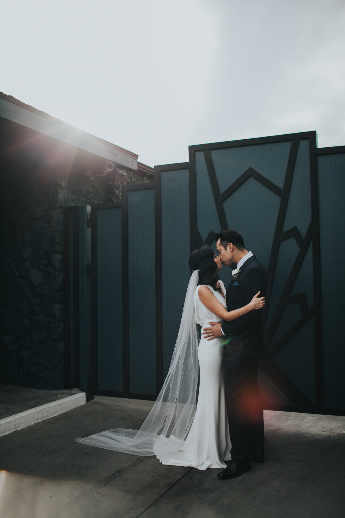 Modern bride and groom wedding portrait shot at The Fig House