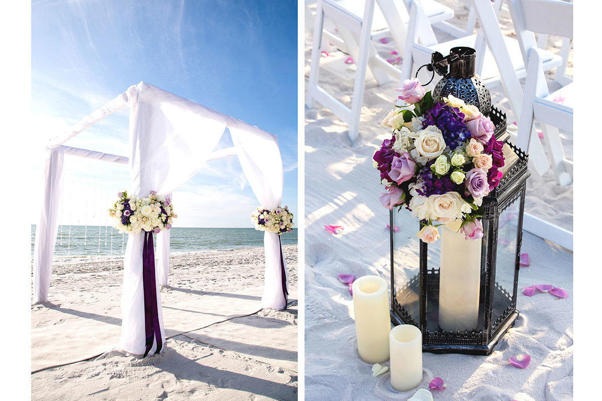 ritz carlton naples florida wedding purple flowers arch