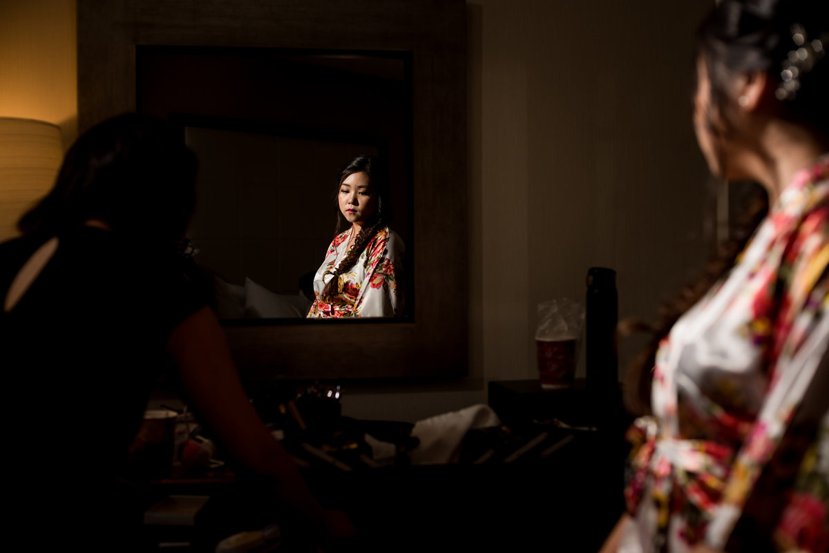bride getting ready in a hotel