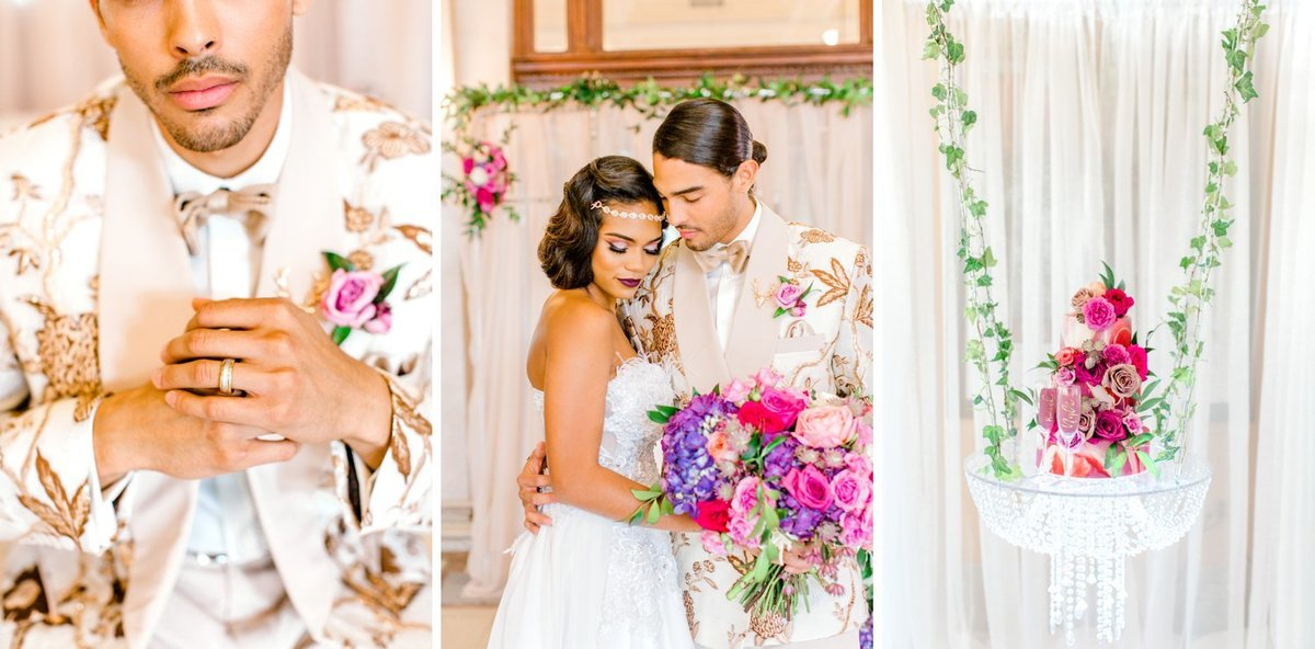 Bright pink and purple wedding with stylish bride and groom